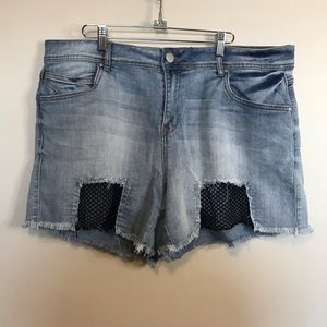 Dollhouse Dylan Jean Shorts with Fishnet Details